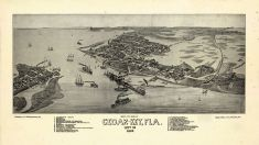 Cedar Key 1884 Bird's Eye View 17x29, Cedar Key 1884 Bird's Eye View